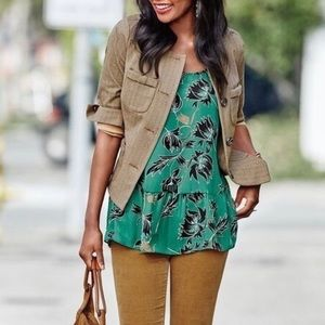 Cabi Zoe Floral Peplum Tank Top in Green Floral